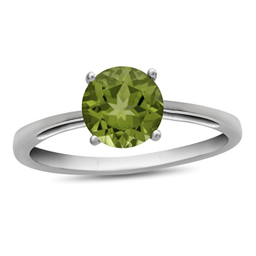 - Finejewelers 10k White Gold 7mm Solitaire Round Peridot Ring Size 6