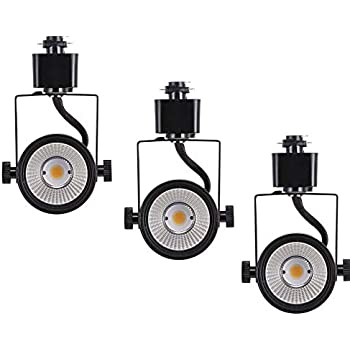 Cloudy Bay 8W Dimmable LED Track Light Head,CRI 90+ Warm White 3000K,Adjustable Tilt Angle Track Lighting Fixture,120V 40° Angle for Accent Retail,Black Finish Halo Type - 3 Pack