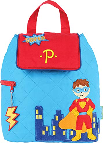 Monogrammed Me Quilted Backpack, Blue Super Hero, with Embroidered Kids Monogram P