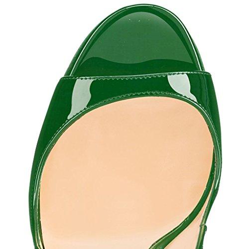 Edefs De Haut Ouverts Femmes Artisan À Bout Décolletés Talon Noir vert Sandales Fashion 120mm Chaussures A 4Sn4Pqwrx