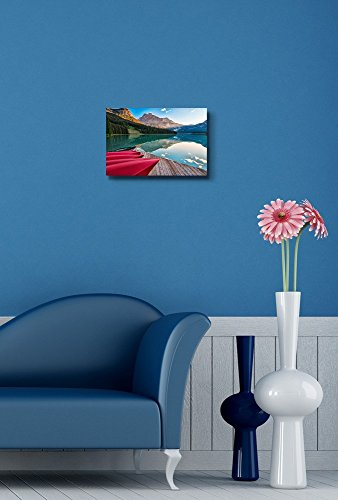 The Sun Lights The Distant Mountain at Emerald Lake from The Canoe Rental Dock Home Deoration Wall Decor