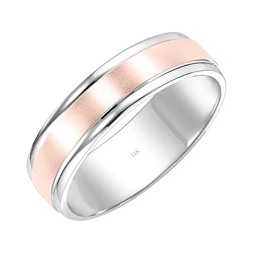 White Band Wedding Carved Gold - Brilliant Expressions 14K White and Rose Dual Finish Comfort Fit Wedding Band with Grooved Engraving, Size 10