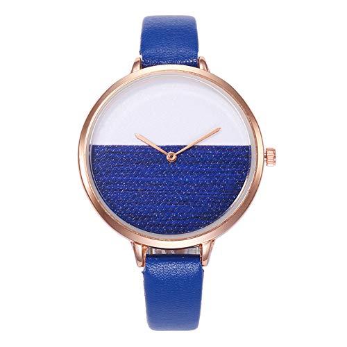 - Fashion Women Dual Color Round Dial Quartz No Numbers Faux Leather Wrist Watch