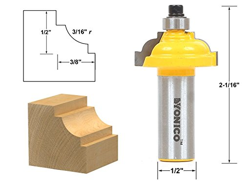 1/2 Inch Radius Cove Router - Yonico 13189 Classical Cove Edging Router Bit with 3/16