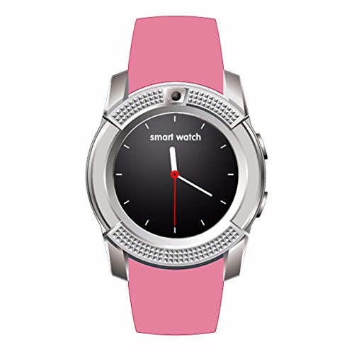 Pink Smart Fitness Watch V8 iOS Android US 3.0Bluetooth for SIM GSM Card Pedometer Diamond Sim Card
