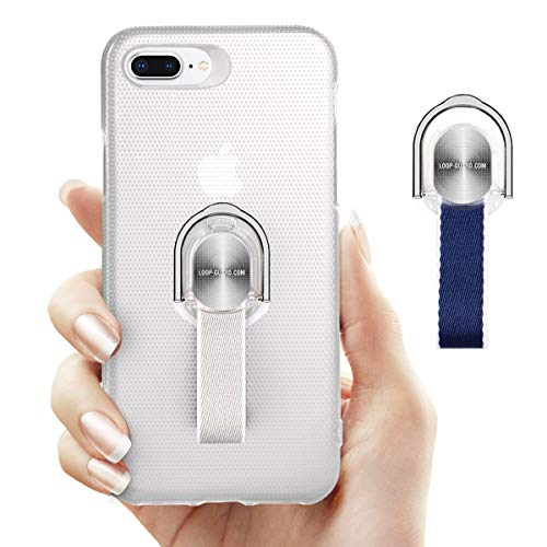 iPhone 8 Plus / 7 Plus Case With Finger Strap & Ring Kickstand, Thin Rugged Cover with Gray & Blue Finger Grips for Apple iPhone 8 Plus / 7 Plus, Support Magnetic Car Mount and Wireless Charging