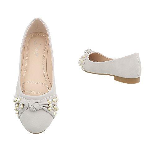 Para A Bailarinas Bailarinas Mujer Design Clásicas gris Ancho 180 Tacón Zapatos Ital clair q0aPBnEW