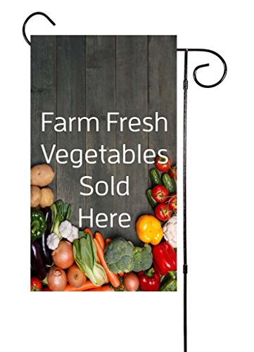 (Destiny'S Farm Fresh Vegetables Sold Here - Tomatoes, Potatoes, Onion, Carrots,Eggplant Garlic, Broccoli Garden Flag 12.5 x 18)