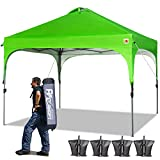 ABCCANOPY 10 x 10 Pop-Up Canopy Tent Beach Canopy Instant Shelter Tents Canopy Popup Outdoor Portable Shade with Wheeled Carry Bag Bonus Extra 4 x Weight Bags, 4 x Ropes& 4 x Stakes, Green
