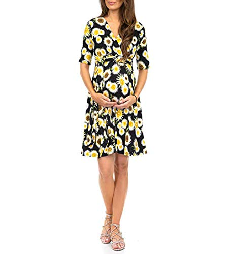 YL L&Y Women's Print Maternity Dress Half Sleeve Baby Shower Nursing Knee Length Maternity Wrap Dress with Belt Black/Yellow