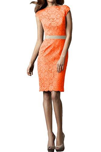 Ivydressing Spitzenklaider Damen Festkleid Abendkleider Kurz Hochwertig Orange Rundkragen Partykleid 1w1rqAf