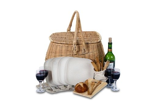Picnic Plus Eco Friendly 4 Person Picnic Basket With Bamboo Fiber Plates, Bamboo Utensils