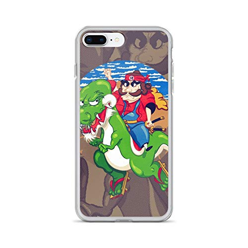 iPhone 7 Plus/8 Plus Case Anti-Scratch Gamer Video Game Transparent Cases Cover in A Dragon Land Far Away There Lives A Brave Warrior A Gaming Computer Crystal Clear