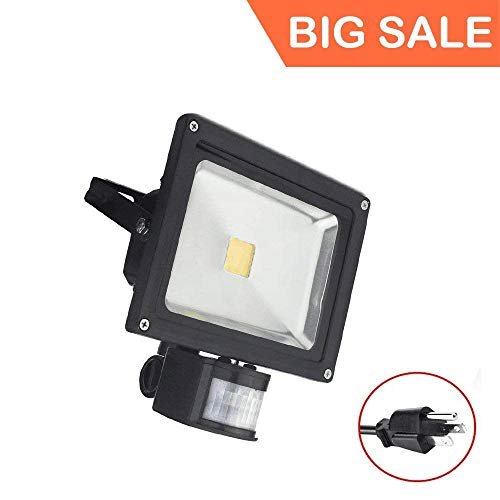 ((Big Sale) 50W Motion Sensor LED Flood Light, 3000K Warm White, 6000lm(Max), IP65 Waterproof Security Spotlight with PIR for Driveway Parking Lot - Black)