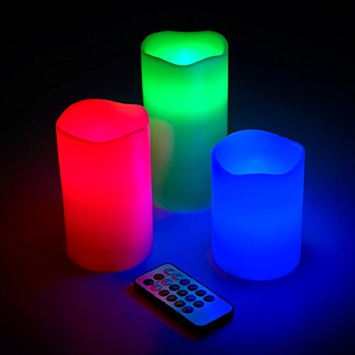 3 pcs Set Ivory Wax Flickering Flameless Color-Changing Candles Glowing LED Pillar w/ Remote Control, Valentine Party Decoration Centerpieces Weddings 6, 5, 4 inch