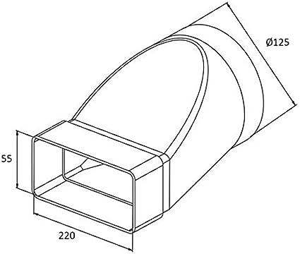 Rundrohr Flachkanal Verbinder 220x55mm /ø125 /Übergangsst/ück airRoxy 0624