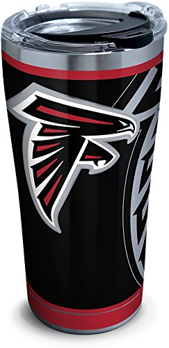 Tervis 1299986 NFL Atlanta Falcons Rush Stainless Steel Tumbler, 20 oz, Silver