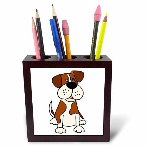 3dRose All Smiles Art Pets - Funny Charming Saint Bernard Puppy Dog Cartoon - 5 inch tile pen holder (ph_263920_1) -