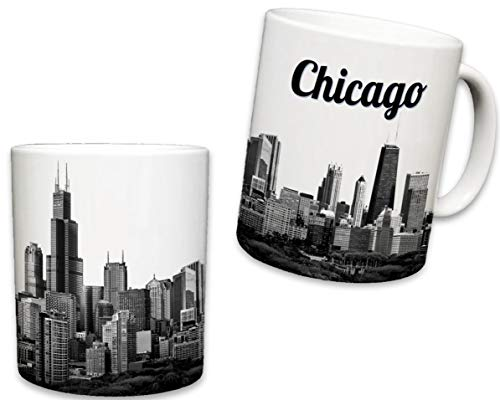 Sweet Gisele | Chicago Mug | Ceramic Coffee Cup Souvenir | Windy City Skyline View | Iconic Sears Tower | White Travel Mugs | Vivid Color Detailing | Great Novelty -
