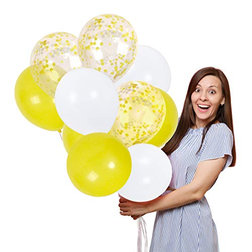 Treasures Gifted 12 Inch Baby Shower Balloons with Yellow and White Paper Confetti for Anniversary Birthday Wedding Decorations -