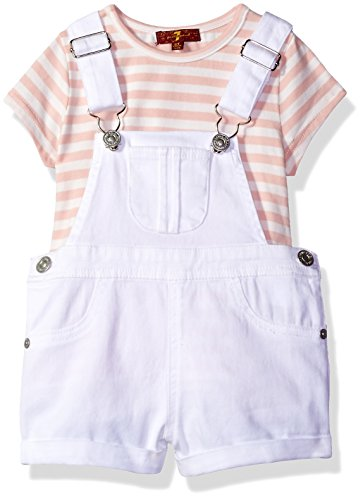 7 For All Mankind Toddler Girls 2 Piece Striped T Shirt and Denim Shortall Set Rose Wine 3T
