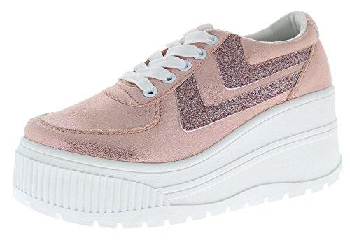Cambridge Select Women's Closed Round Toe Lace-Up Retro 90s Chunky Platform Fashion Sneaker,8 B(M) US,Blush
