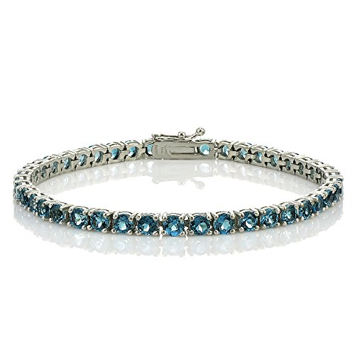 Sterling Silver London Blue Topaz 4mm Round Tennis Bracelet by Ice Gems
