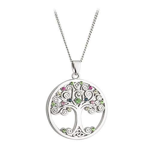 Crystal Tree of Life Necklace Rhodium Plated Made in Ireland