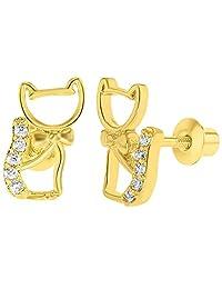 18k Gold Plated Clear Crystal Kitten Cat Earrings Screw Back Girls Kids Children