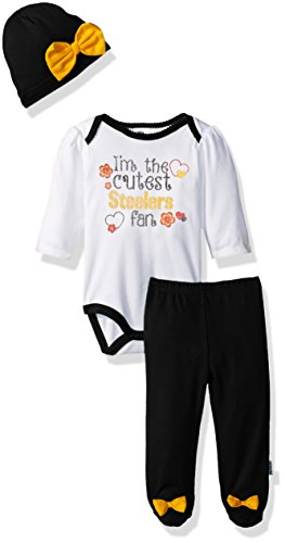 NFL Pittsburgh Children Girls Bodysuit, Pant & Cap Set, 3-6 Months, Steelers
