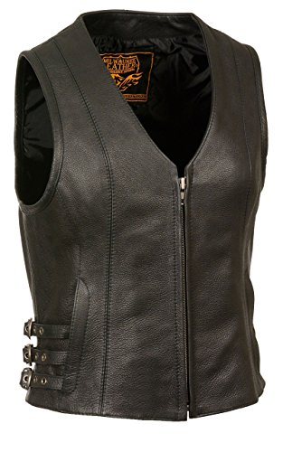 Womens Leather V-Neck Zip Front Side Buckle Vest, Black Size 5XL