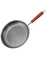 American frying pan with Rosewood Handle flat steak pan 304 stainless steel frying pan extended single handle honeycomb non stick pan