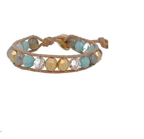 Chan Luu Turquoise Mix Single Wrap Bracelet on Beige Leather, NWT