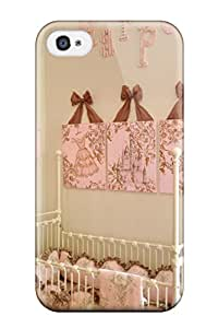 6425485K99894338 Slim Fit Tpu Protector Shock Absorbent Bumper Pink And Cream Girls Nursery With Personalized Wall Letters Case For Iphone 4/4s