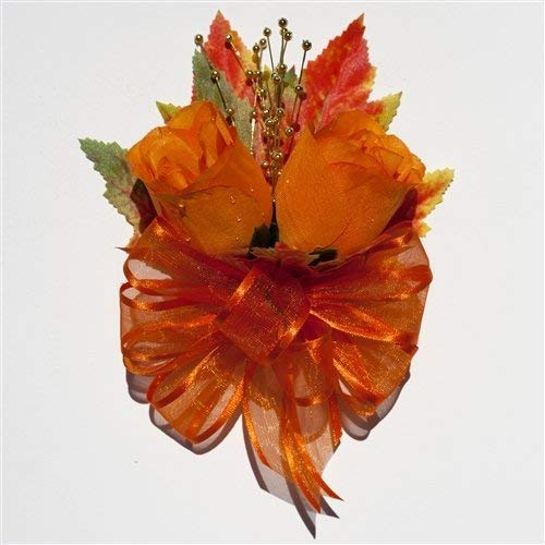 Autumn Wedding Flowers by BalsaCircle Orange Silk Roses Corsage with Fall Maple Leaves
