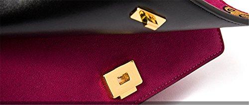 Otoño e Invierno XinMaoYuan esmerilado Cuadro bordado bolso de hombro de cuero color Hit Retro Messenger señoras paquete pequeño. Negro