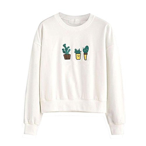 Women Embroidery Cactus Sweatshirt Long Sleeve Casual Pullover Tops Blouse (XXL, White)
