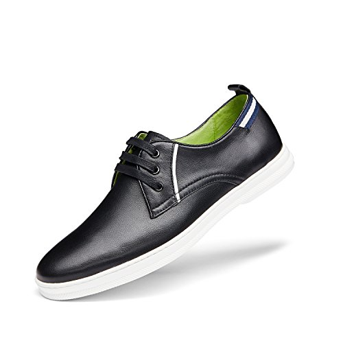 ZRO Mens Genuine Leather Casual Lace-Up Shoes Black nqHopI72