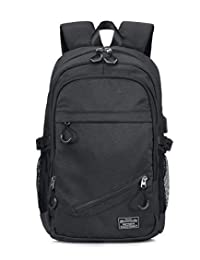 KEYNEW Laptop Backpack USB Charging Port Water Resistant 15.6 inch Computer Travel Shoulder Bag - Black