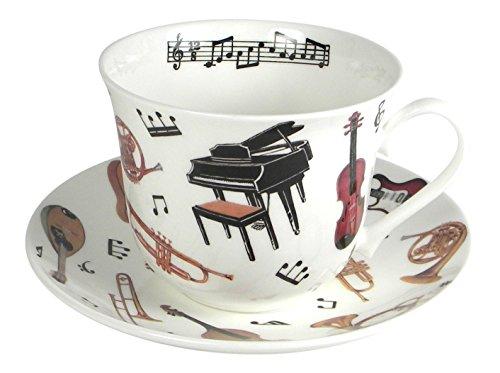 Roy Kirkham Concert Instrument Breakfast Teacup and Saucer Set Fine Bone China - Bone Breakfast China Set