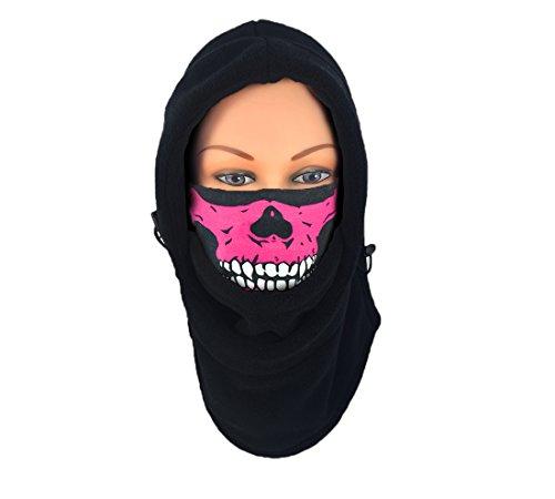 (Nova Sport Wear Full Face Fleece Balaclava Tube Mask Combination/Fleece Hood and Skull Neck Gaiter For Extreme Weather (Black Fleece, Pink Skull))
