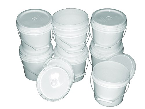 [Bucket Kit, Six 1 Gallon Buckets with White Snap-on Lids] (6 One Gallon)