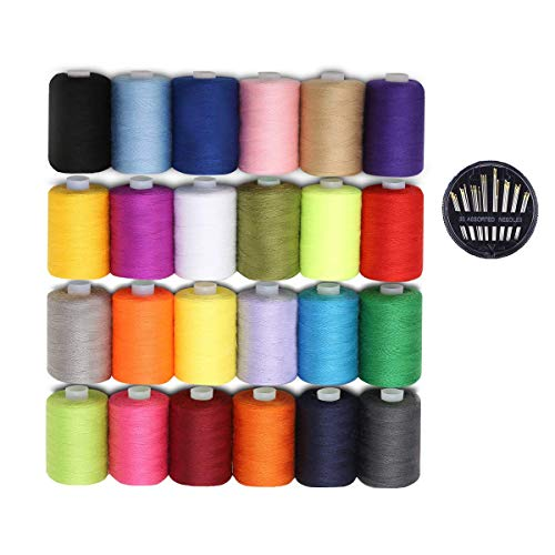 YIR 24 Pcs 1000 Yards Polyester Sewing Thread Each Spools with 30 Pcs Sewing Needles