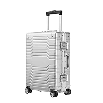 Image of All Aluminum Alloy Luggage Frame & Body 20in Carry On Spinner Suitcase with TSA Locks - sliver