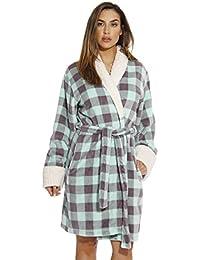 Sherpa Trim Plush Robe for Women