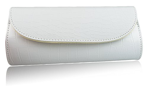 (White) Women Evening Crocodile Skin Embossed Party Clutch Purse by Zakka Republic (CLT-01-B)