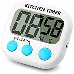 ChefBox Kitchen Countdown Timer, Large LCD Display, Big Digits, Loud Alarm, Strong Magnetic Backing, Stand, Battery Included, White