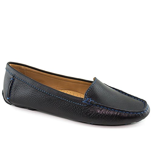 Driver Club USA Womens Leather Made in Brazil Hampton Loafer Driving Style Black Grainy