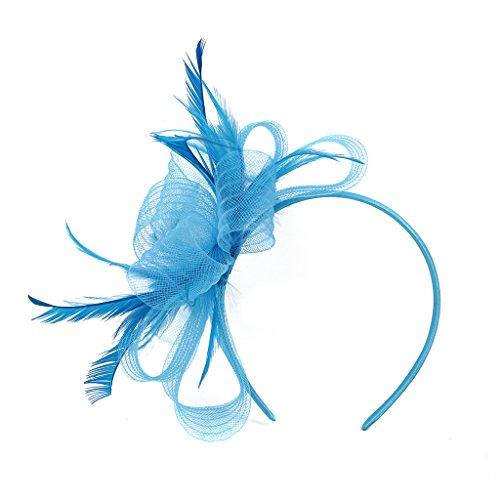 Hat Embellished Flower (LATIMOON Fascinators Hat Flower Mesh Ribbons Wedding Party Hats Feather Veil Headwear for Women-Blue)