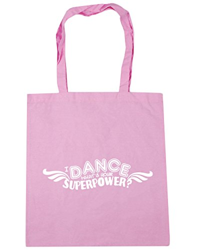 HippoWarehouse I Dance, What's Your Superpower Tote Shopping Gym Beach Bag 42cm x38cm, 10 litres Classic Pink